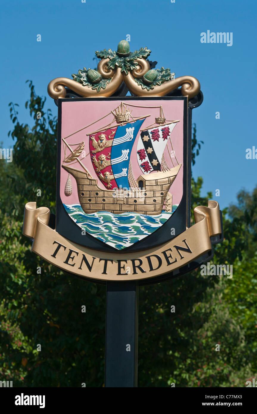 Tenterden Town Coat Of Arms Sign Kent England - Stock Image
