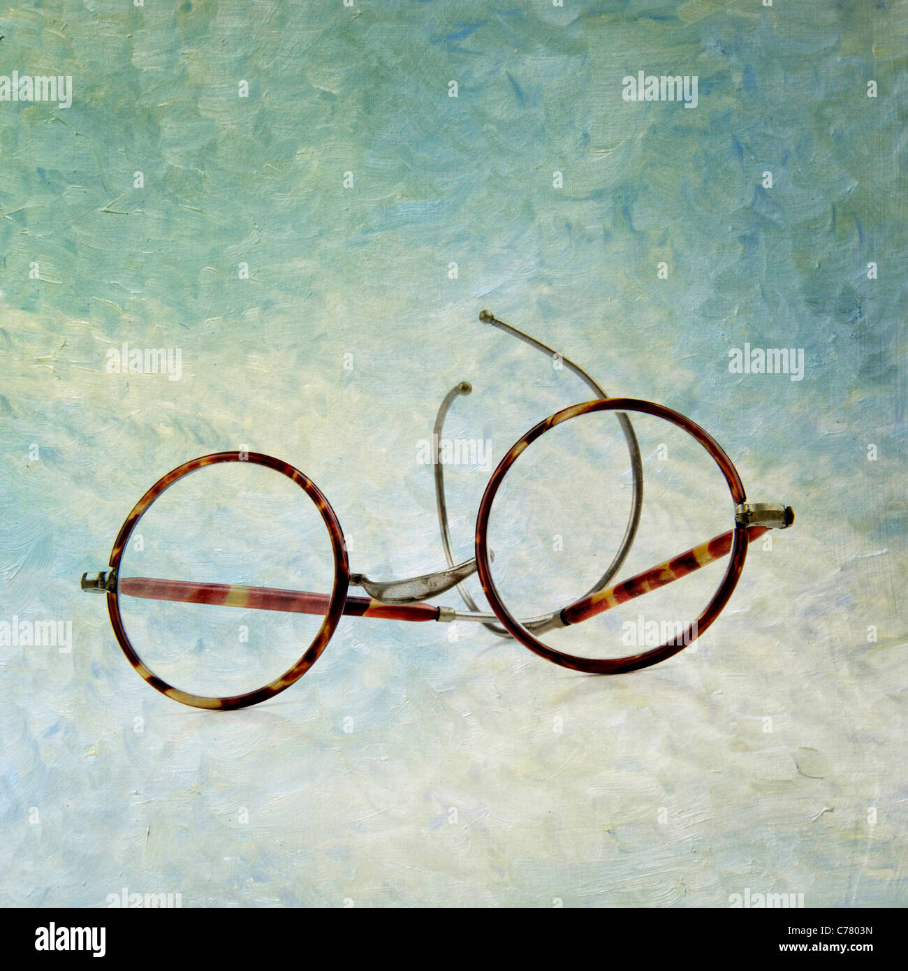 Pair of glasses / spectacles - textured art image - Stock Image