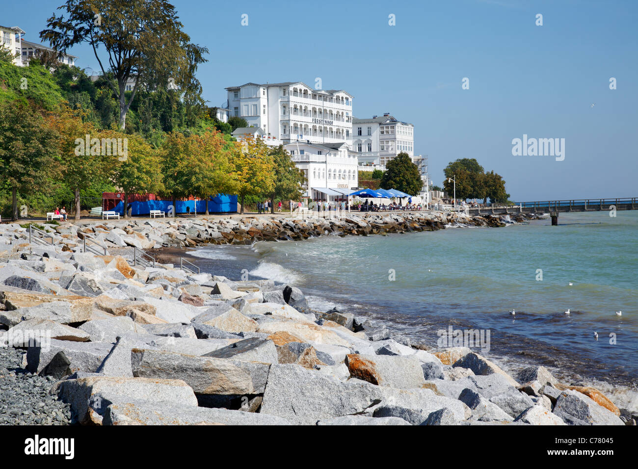 Beach Promenade and Appartment hotel Fuerstenhof, Sassnitz, Ruegen, Mecklenburg Vorpommern, Germany Stock Photo