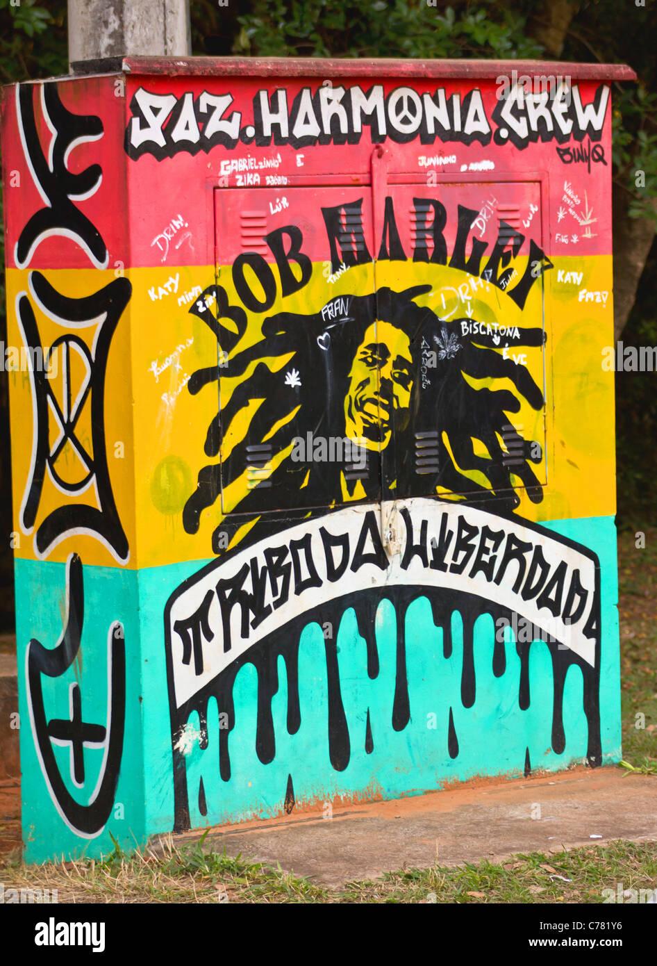 Graffiti on a wall. Urban art or vandalism. - Stock Image