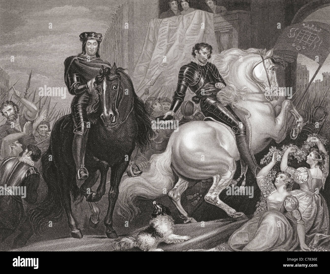 The entry of Richard II and Bolingbroke into London. - Stock Image