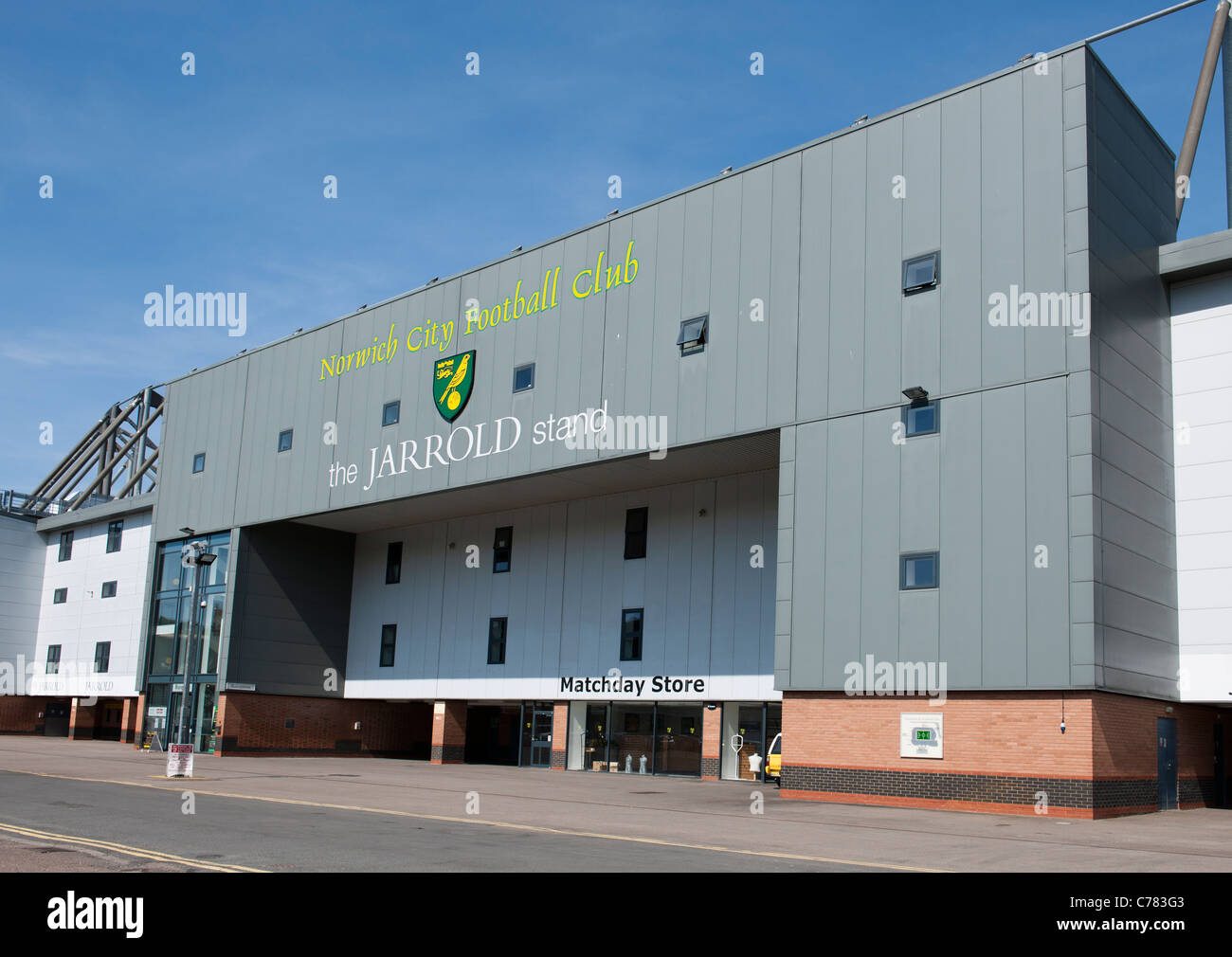 The Jarrold Stand, Carrow Road Stadium, Norwich City Football Club, Norwich, Norfolk, East Anglia, England. - Stock Image