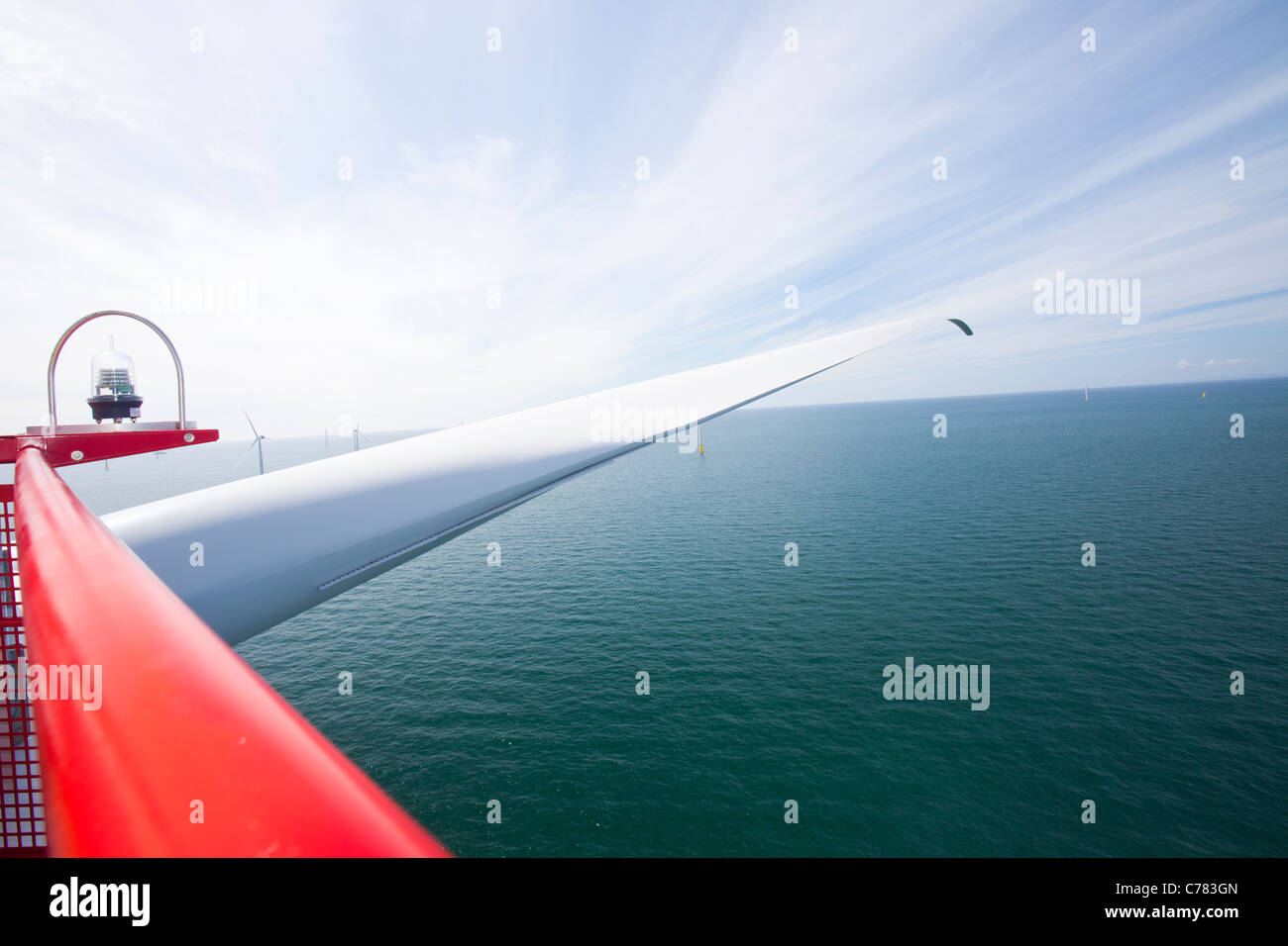 The blade of a wind turbine from the nacelle, in the Walney offshore wind farm, Cumbria, UK. - Stock Image