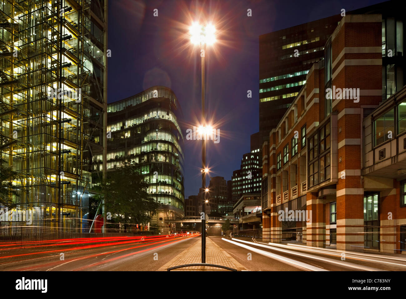 London Wall offices in the City of London at night. - Stock Image