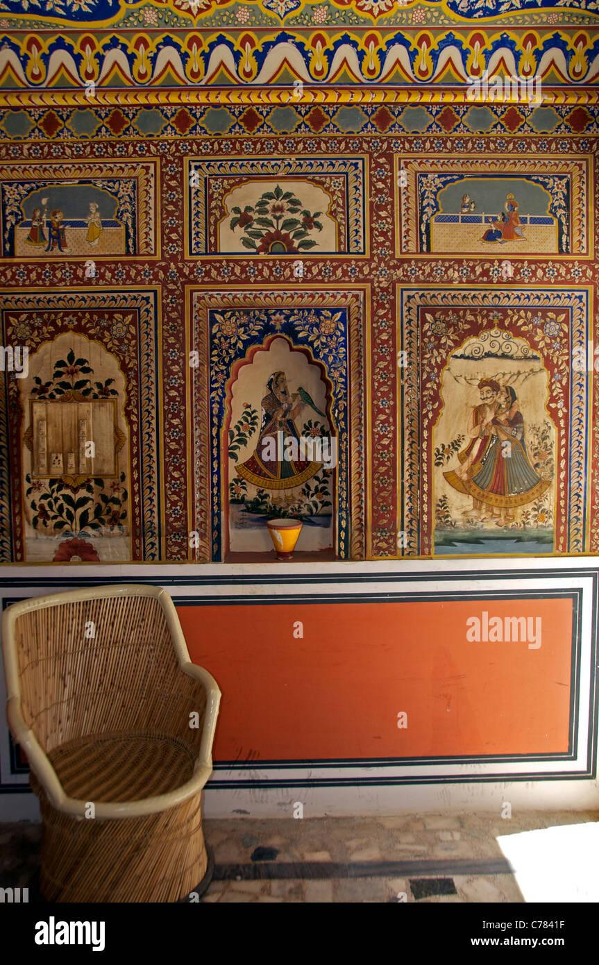 Room with restored murals Castle Mandawa Shekhawati Northern Rajasthan India - Stock Image