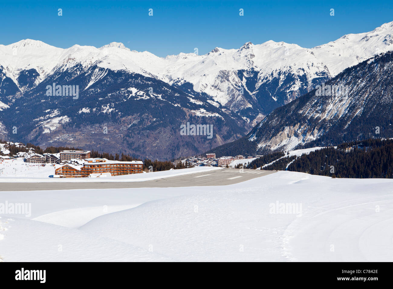Altiport runway, Courchevel, Savoie, Rhone-Alpes, France. - Stock Image