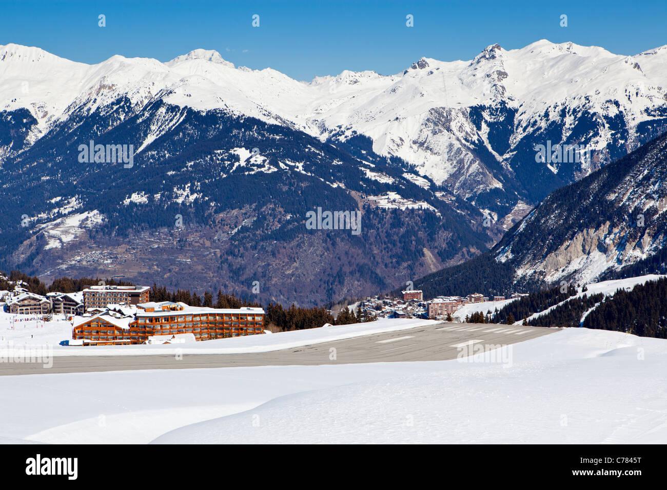 Altiport runway, Courchevel, Savoie, Rhone-Alpes, France. - Stock Image