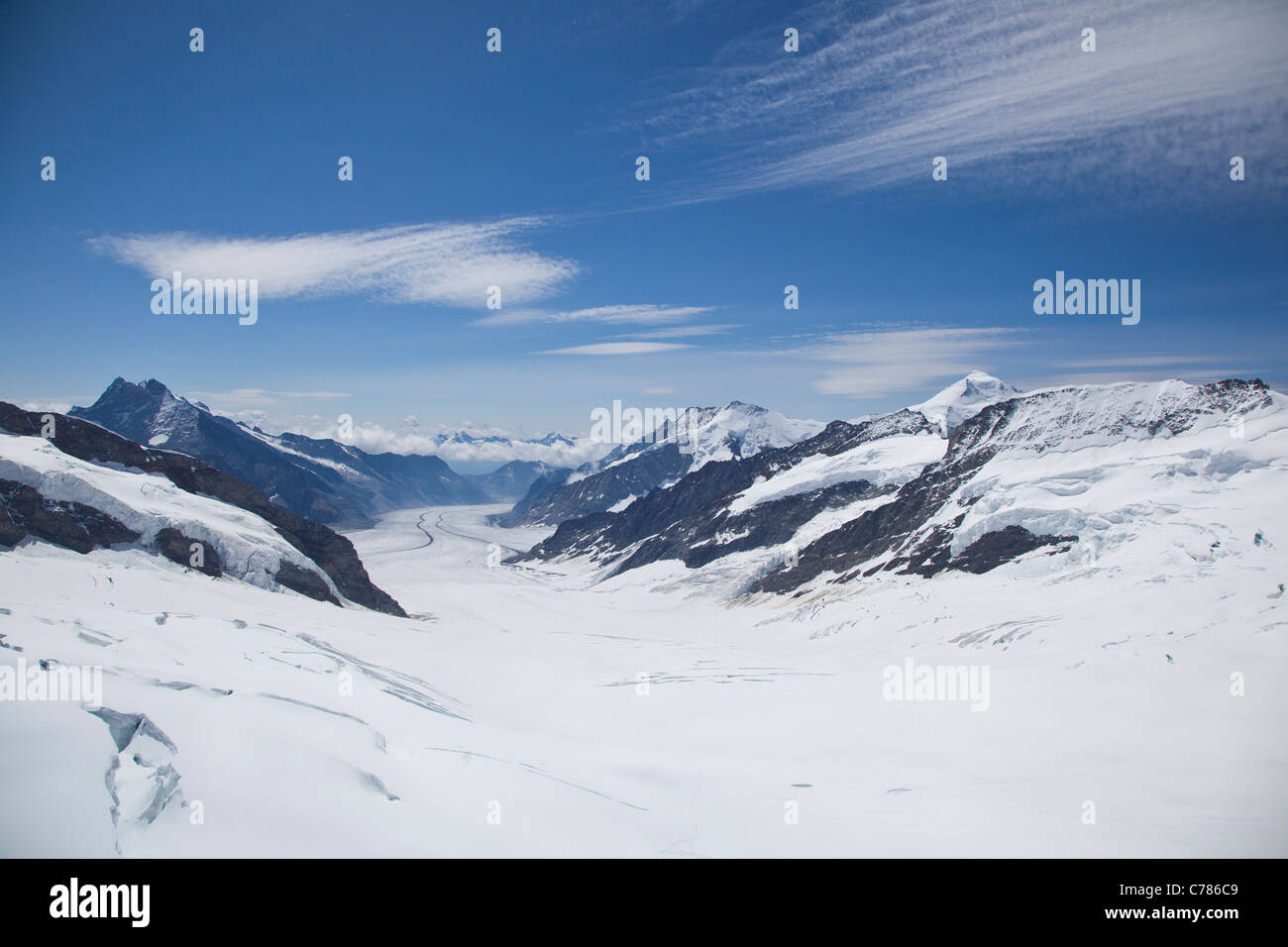 glacier in the Swiss Alps, Jungfrau region on a clear sunny day - Stock Image