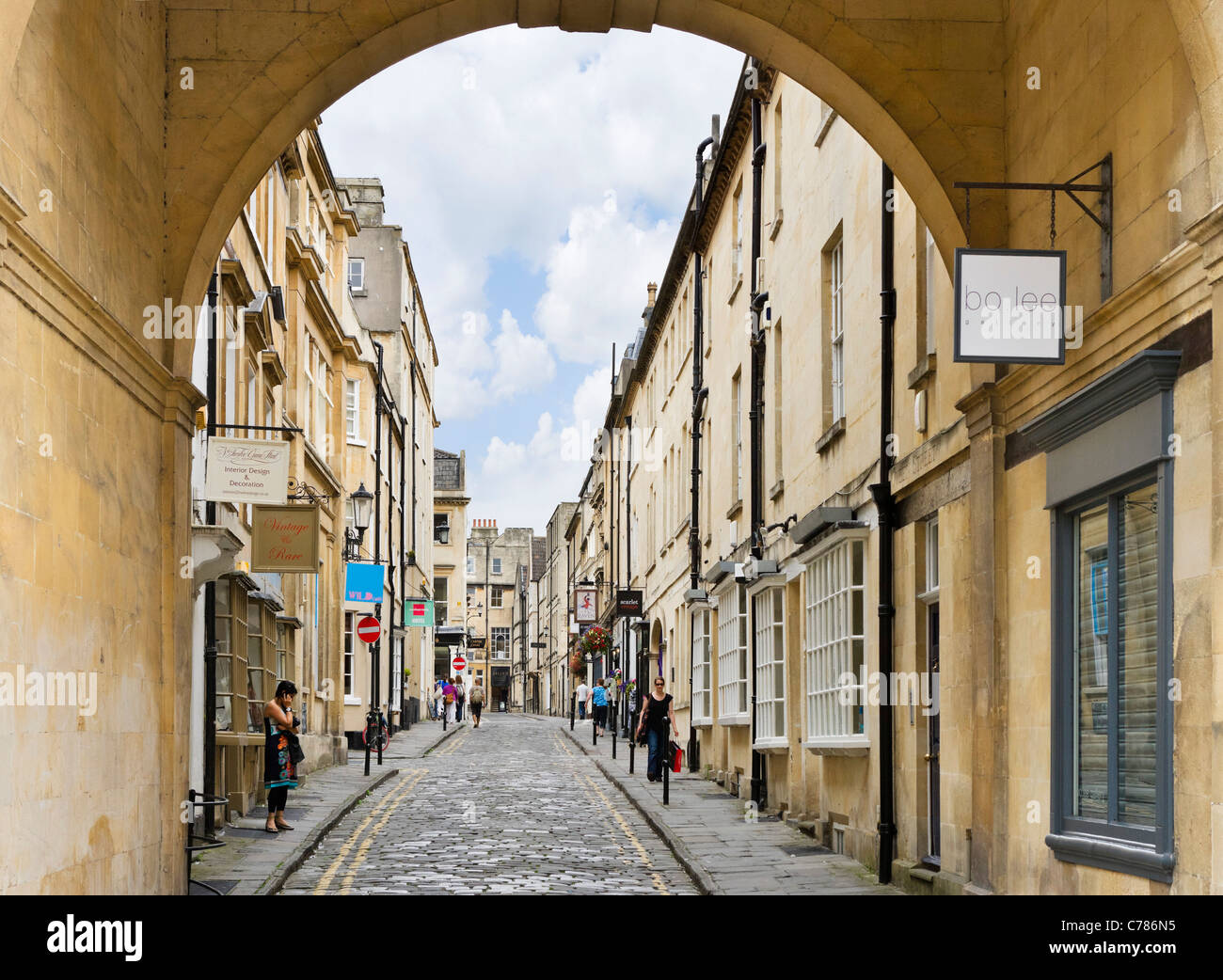 Queen Street near the old town, Bath, Somerset, England, UK - Stock Image