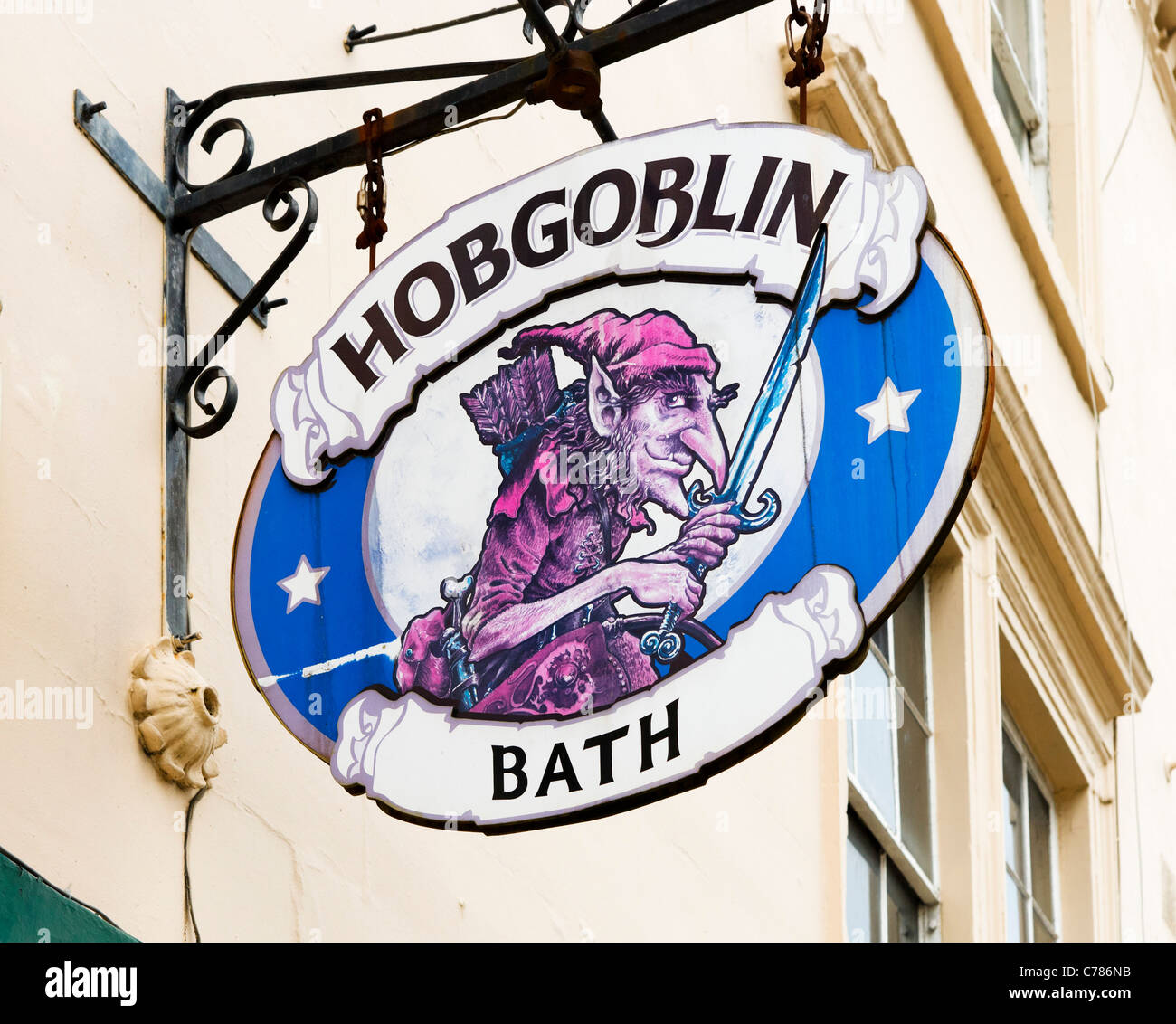 Sign for the Hobgoblin pub in the city centre, Bath, Somerset, England, UK - Stock Image