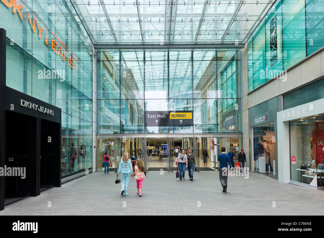 Entrance to the East Mall of the  Bull Ring Shopping Centre, Birmingham, West Midlands, England, UK - Stock Image