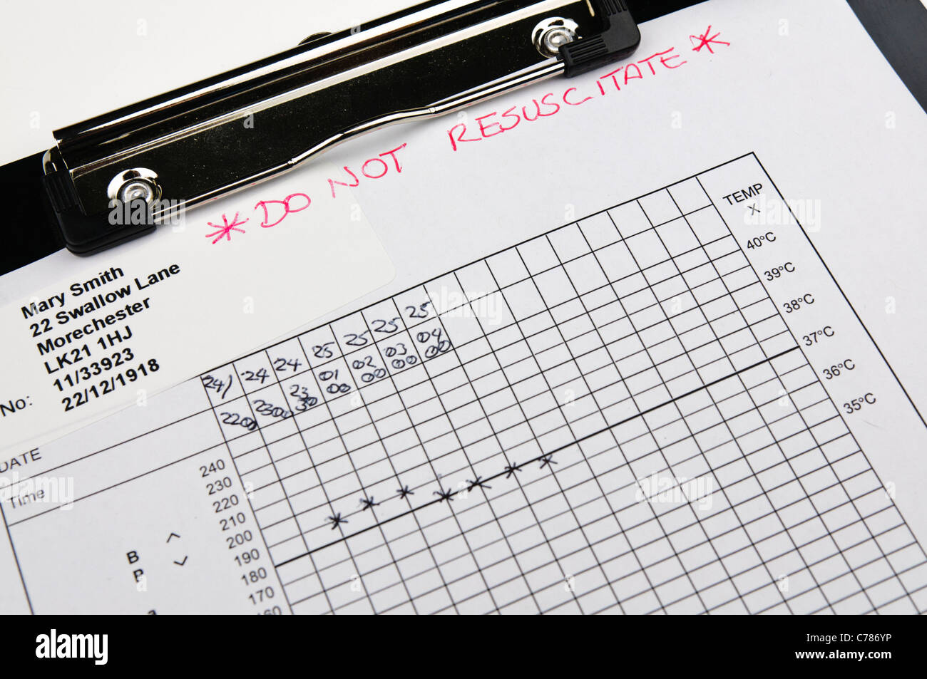 Patient's observation chart marked 'Do Not Resuscitate' - Stock Image