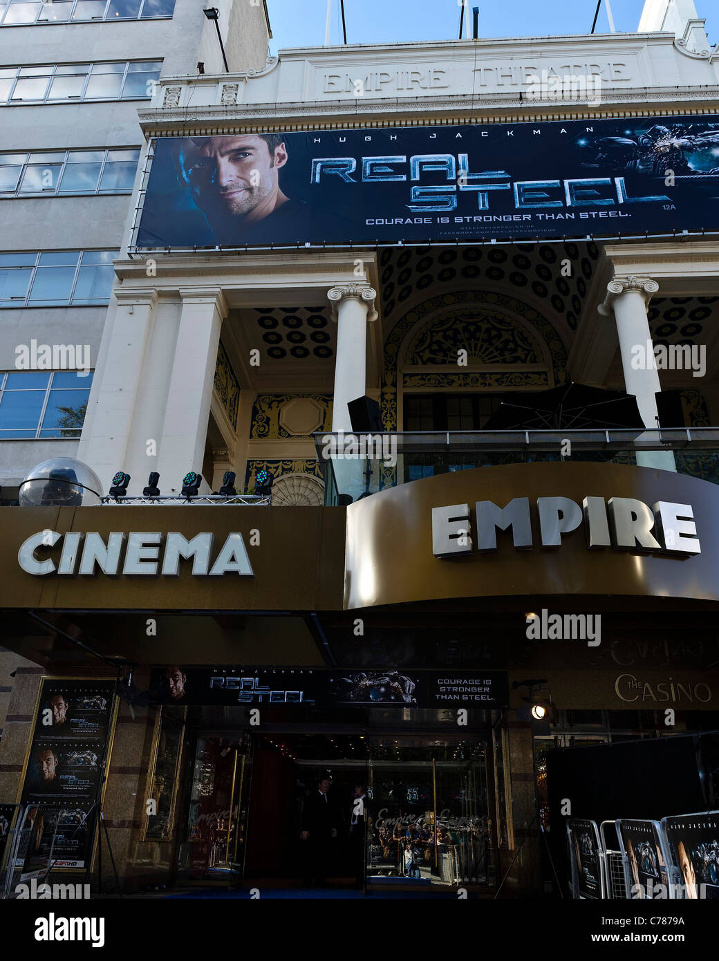 The Empire, Leicester Square, London on 14th September 2011 with banner for  UK Premiere of Real Steel . - Stock Image