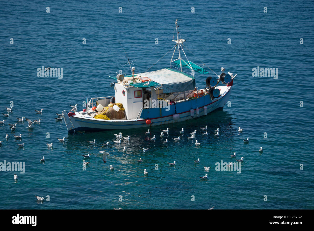 Fishing boat in harbour, Molyvos, Lesbos, Lesvos, Greece - Stock Image