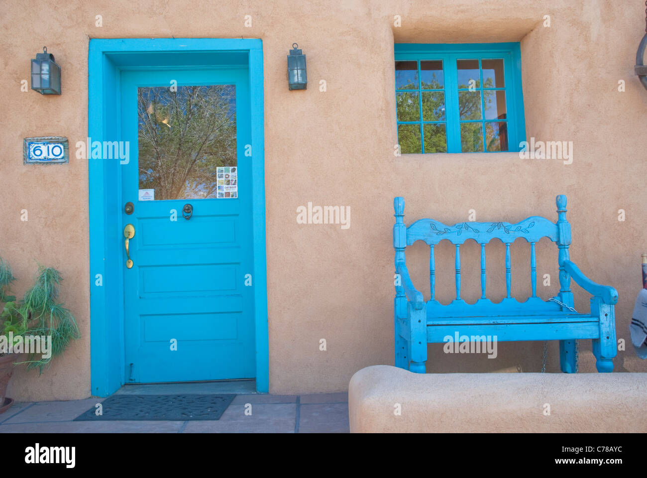Southwestern Blue Accents Doors Windows And Benches On