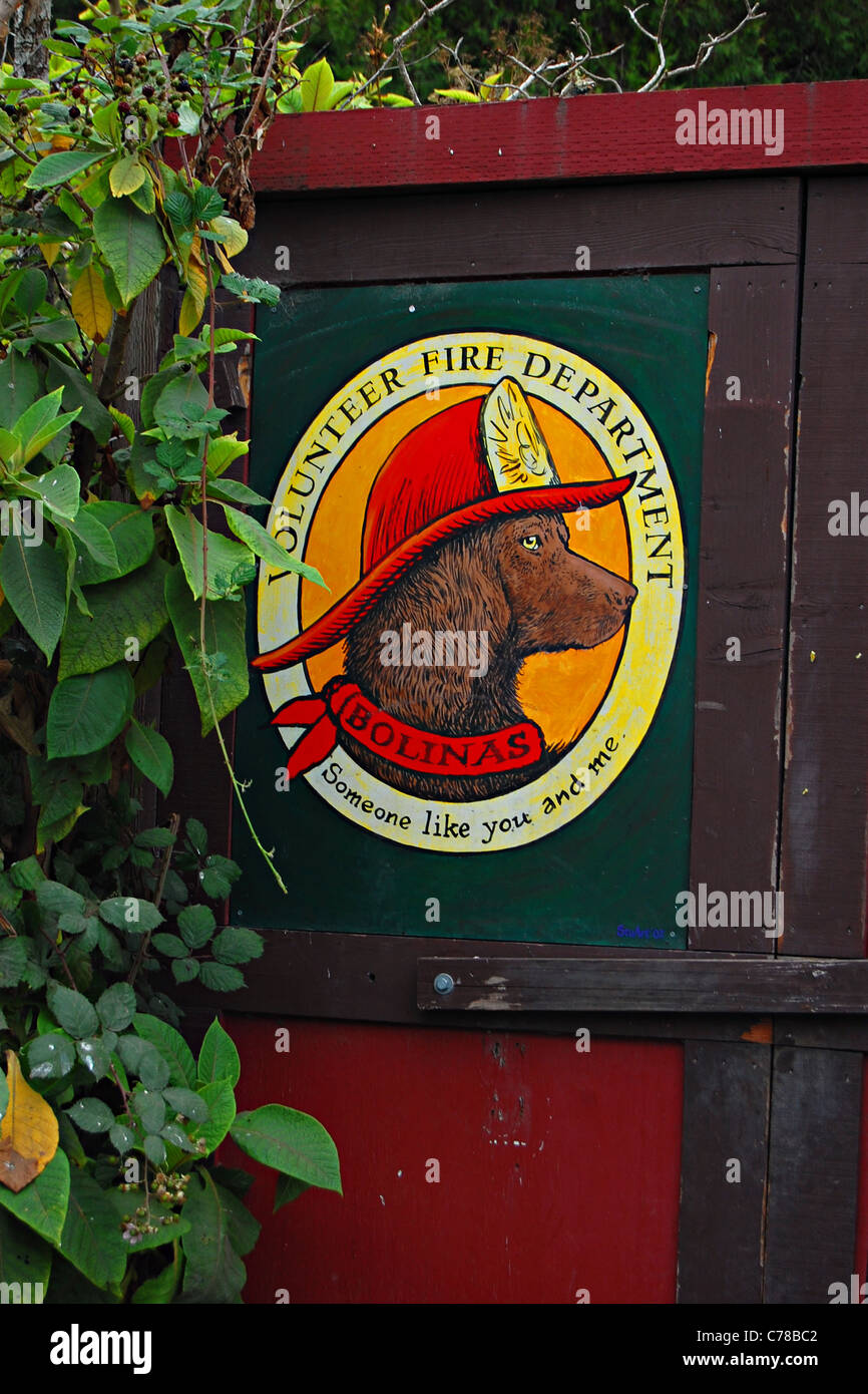 Bolinas Volunteer Fire Department, California, USA - Stock Image