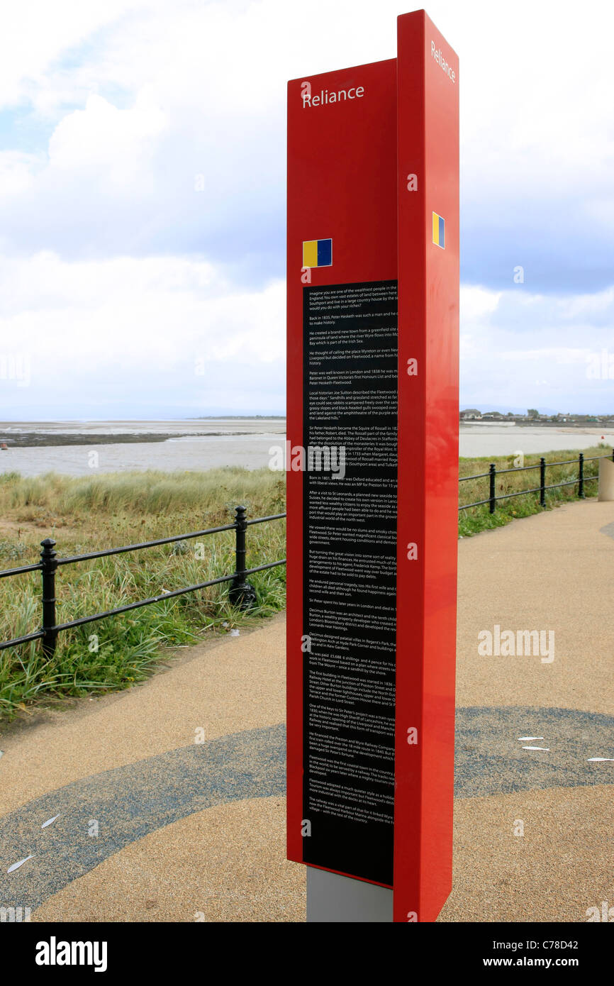 A vertical placard called Reliance in Fleetwood relating to times past in this old Fishing Port - Stock Image