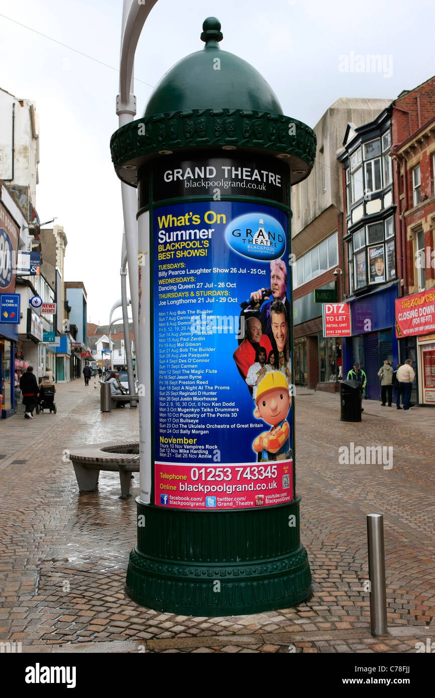 Grand Theater Advertising column in Blackpool Town Center Lancs - Stock Image