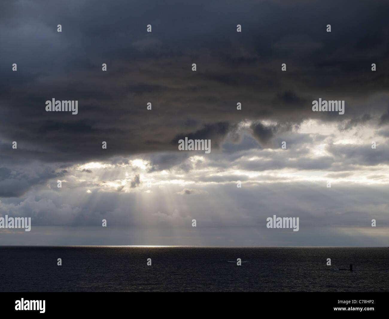 Dark skies, Sandholmen, Bohuslän, Sweden - Stock Image