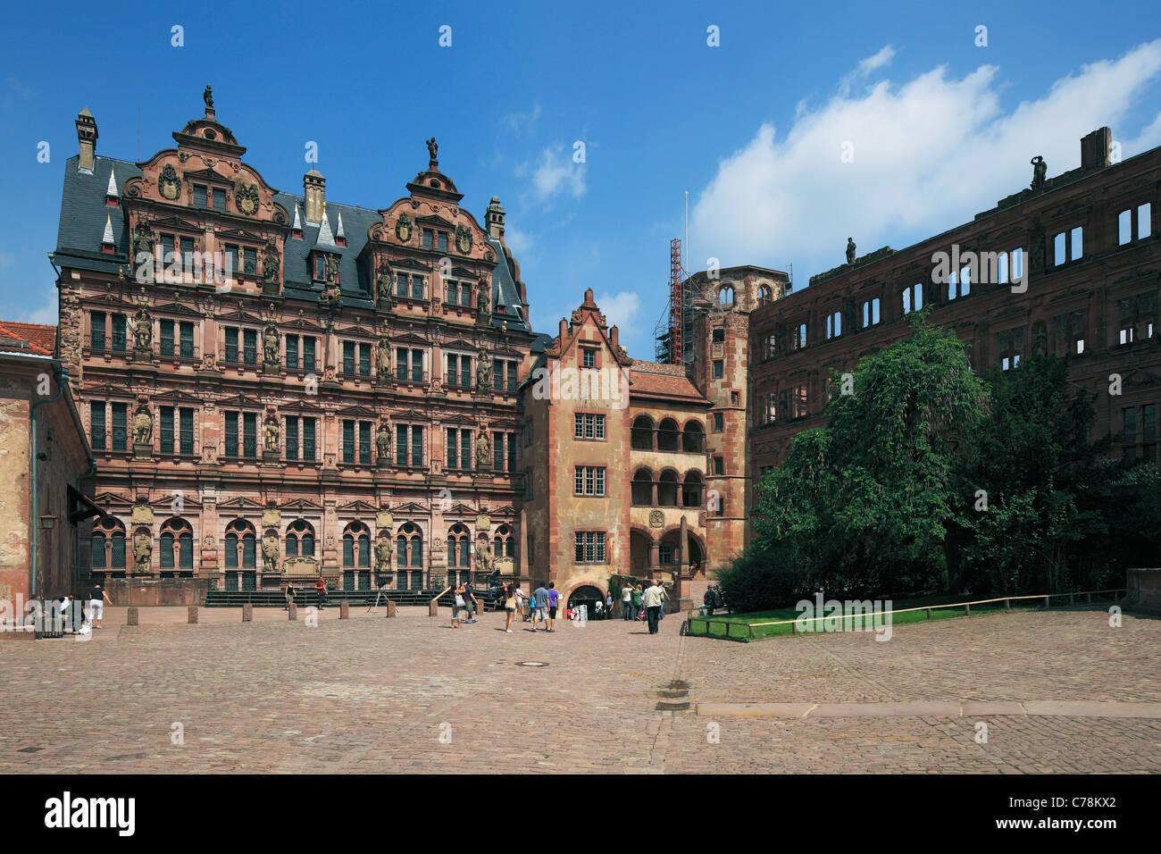 Heidelberger Schloss in Baden-Wuerttemberg, Schlosshof, Friedrichsbau, Glaeserner Saalbau, Glockenturm, Ottheinrichsbau Stock Photo