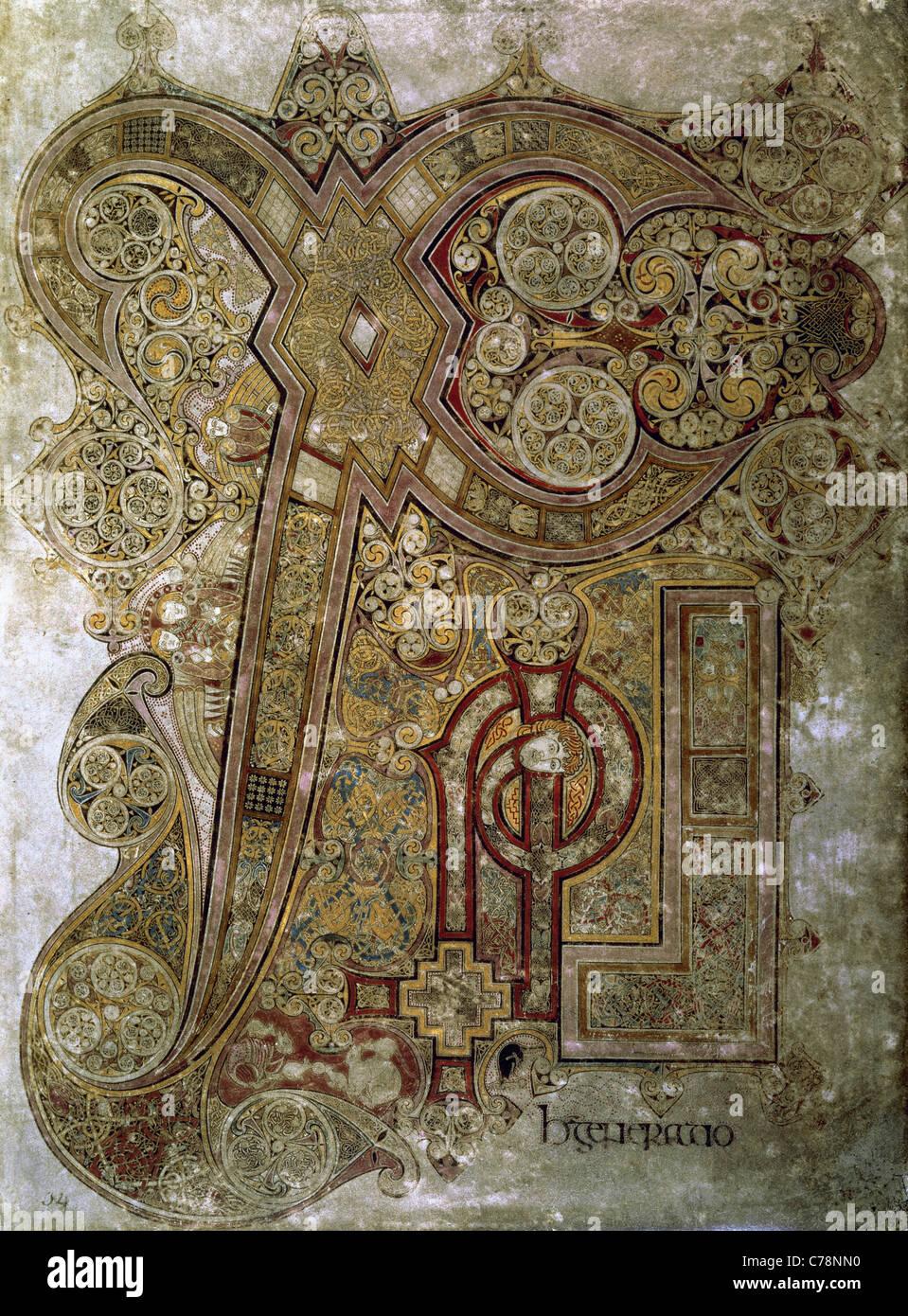 The Book of Kells. Chi Rho monogram. Folio 34r. 8th century. Trinity College Library. Dublin. Ireland. - Stock Image