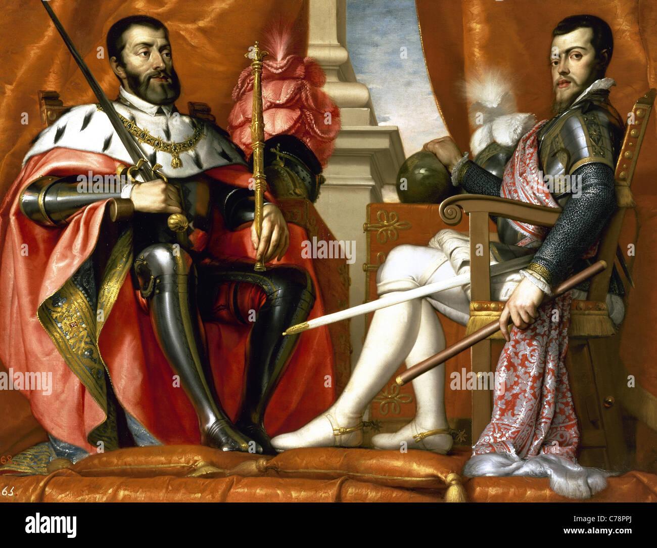 Philip II (1527-1598) and Charles I (1500-1558). Kings of Spain. Portrait by Antonio Arias. Prado Museum. Madrid. Stock Photo