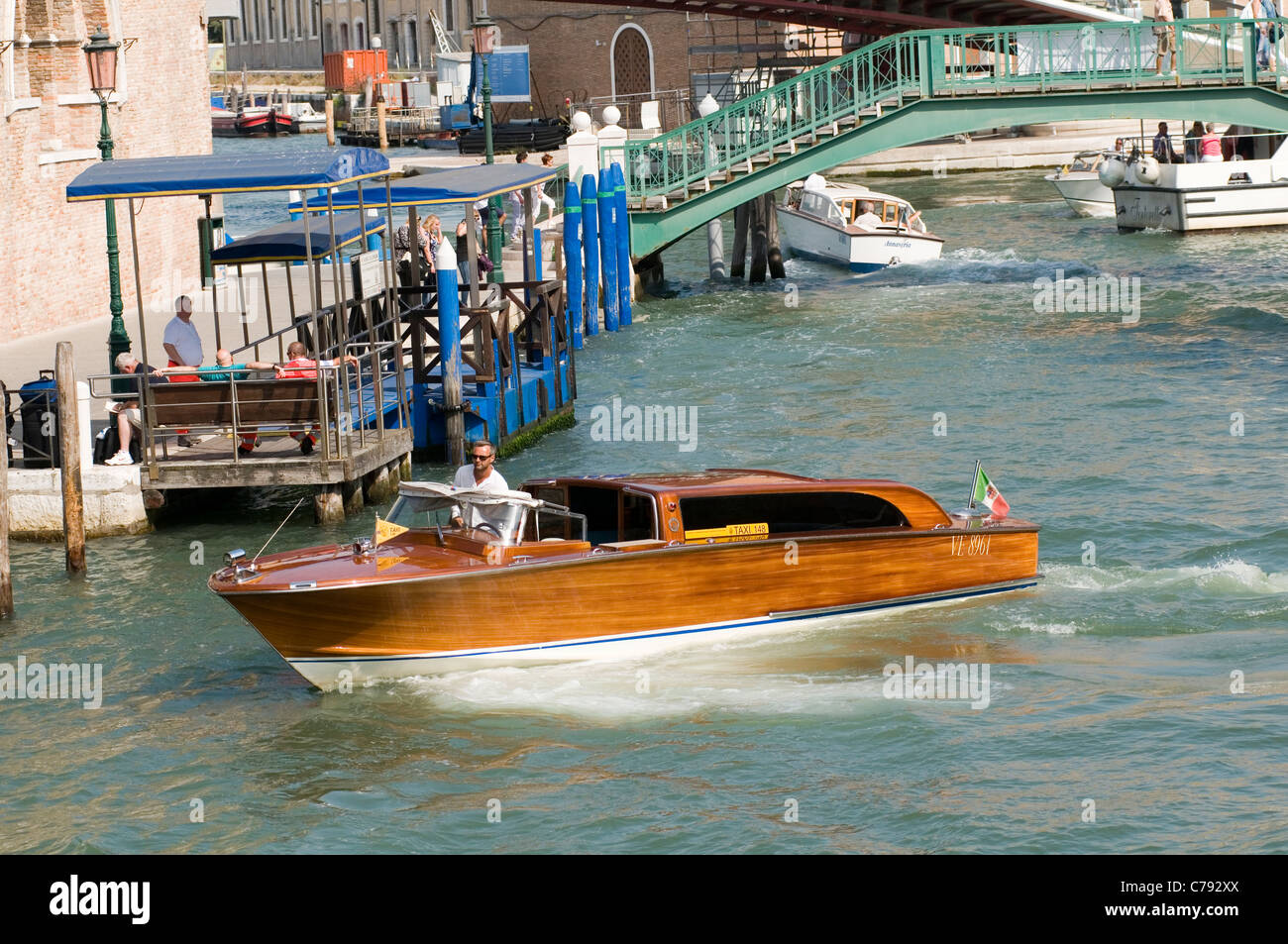 water taxi boat boats venice italy italian taxis canal canals stock