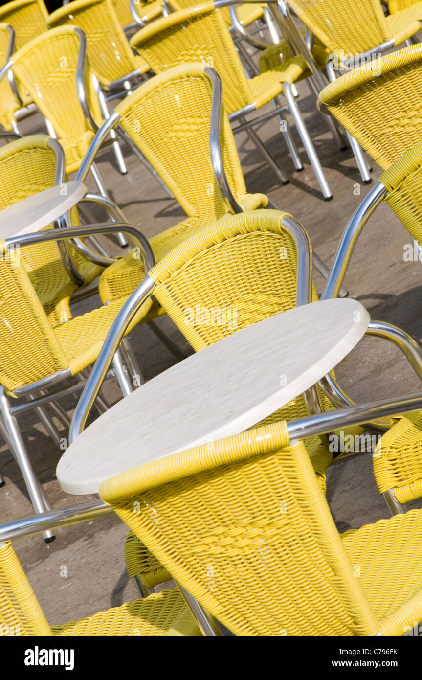 cafe cafes cafe's chair chairs table tables street outdoor outside seats culture italian french Mediterranean - Stock Image