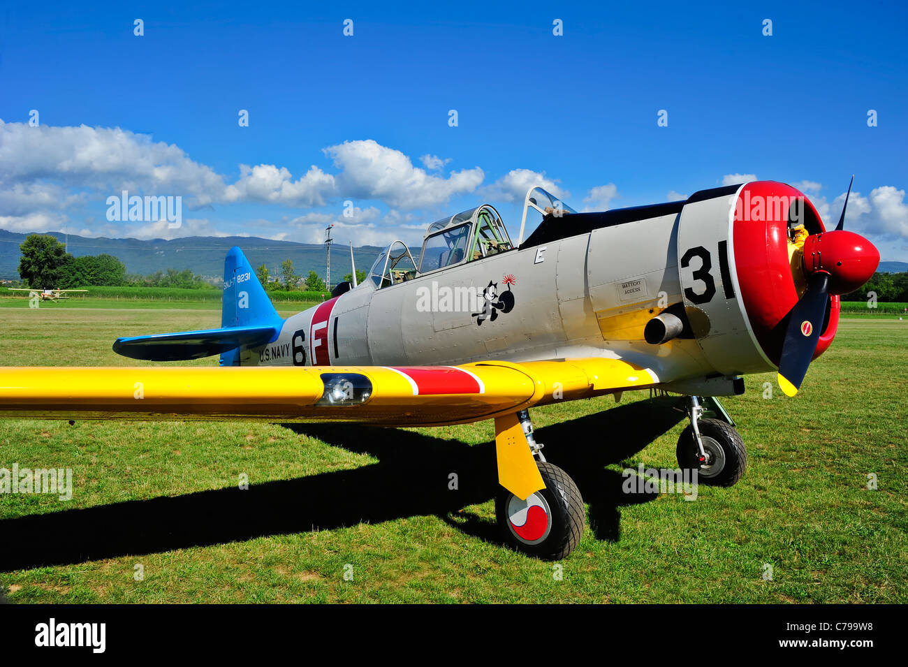 A North American T-6 Texan advanced training aircraft - Stock Image