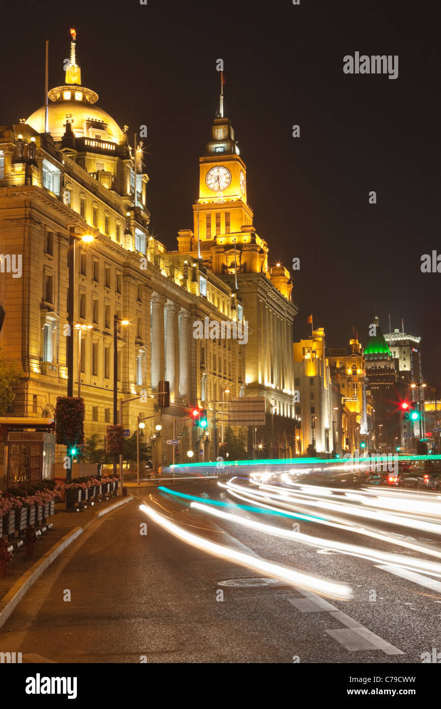 Car trails on The Bund, Shanghai, China - Stock Image