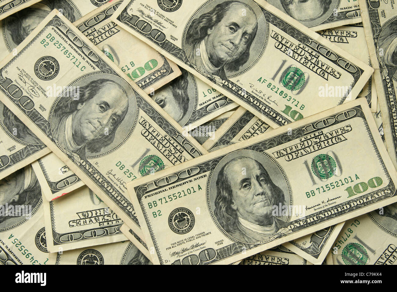 background of one hundred dollar United States bills - Stock Image