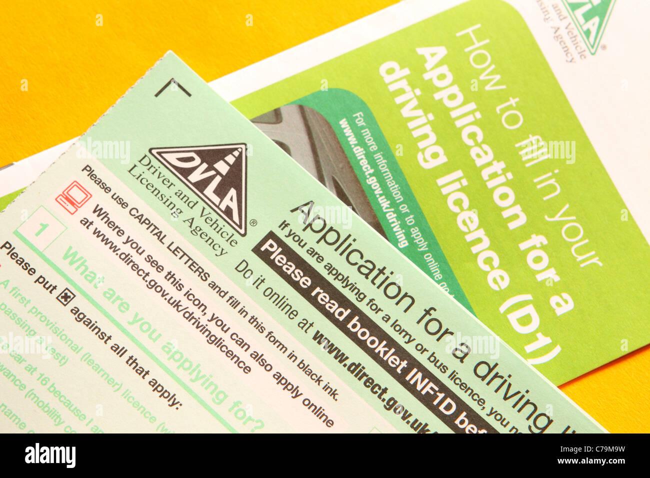 DVLA UK driving licence application form D1 - Stock Image