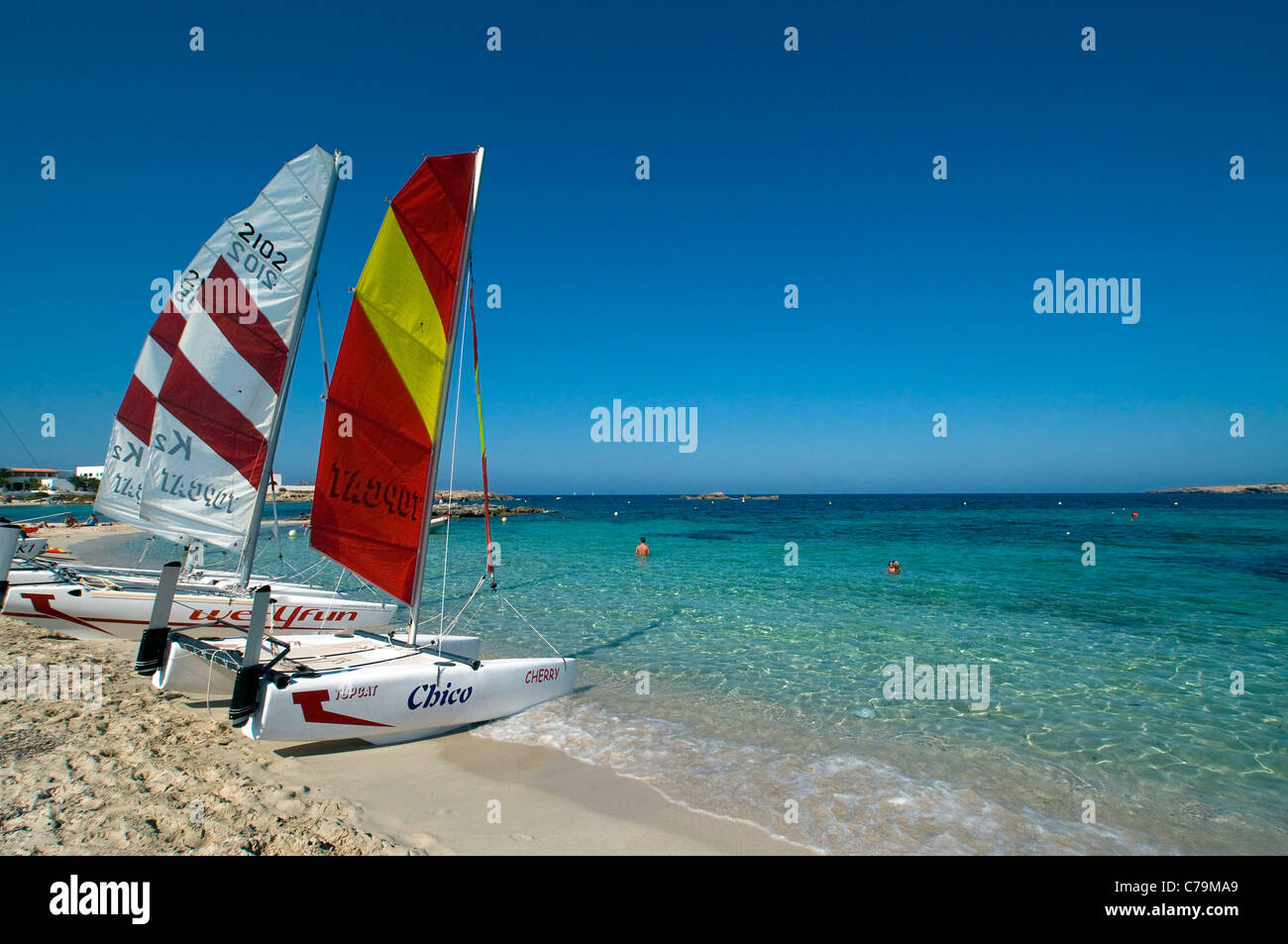 Watersports on Playa Es Pujol, Formentera, Balearics, Spain - Stock Image