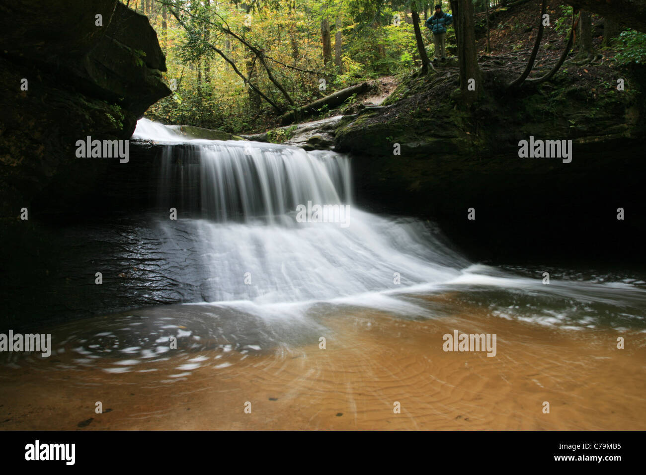 long exposure of Creation Falls in the Red River Gorge, Kentucky - Stock Image
