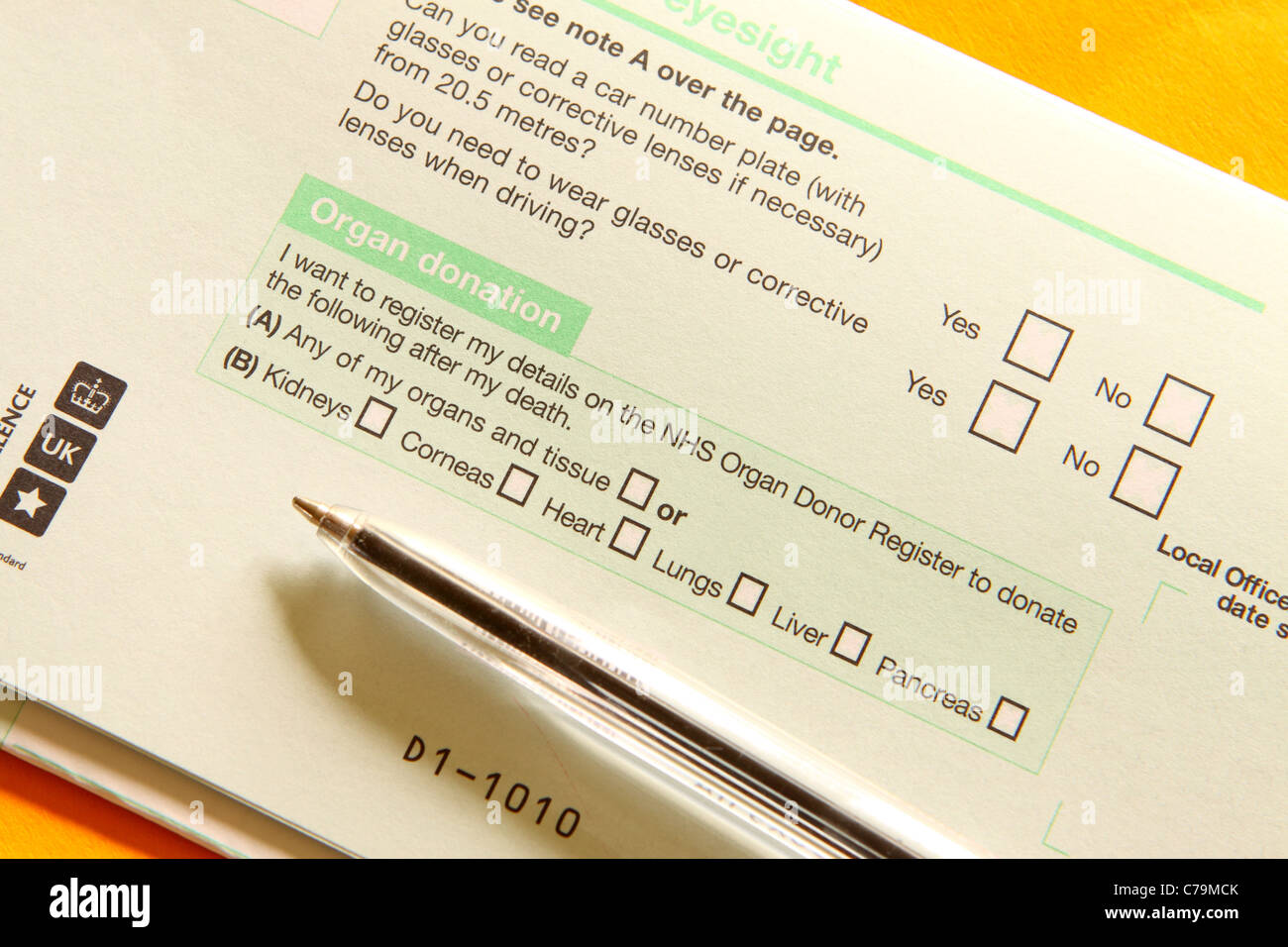Organ donation form options on UK Driving Licence application D1 in 2011 - Stock Image