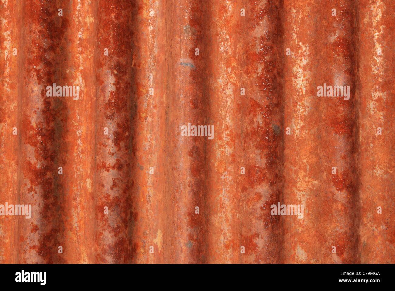 rusted grunge corrugated iron background texture - Stock Image