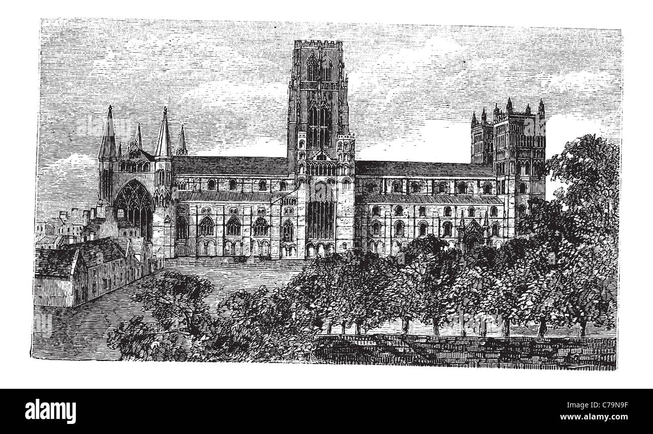 Durham Cathedral in England, United Kingdom, during the 1890s, vintage engraving. Old engraved illustration of Durham - Stock Image