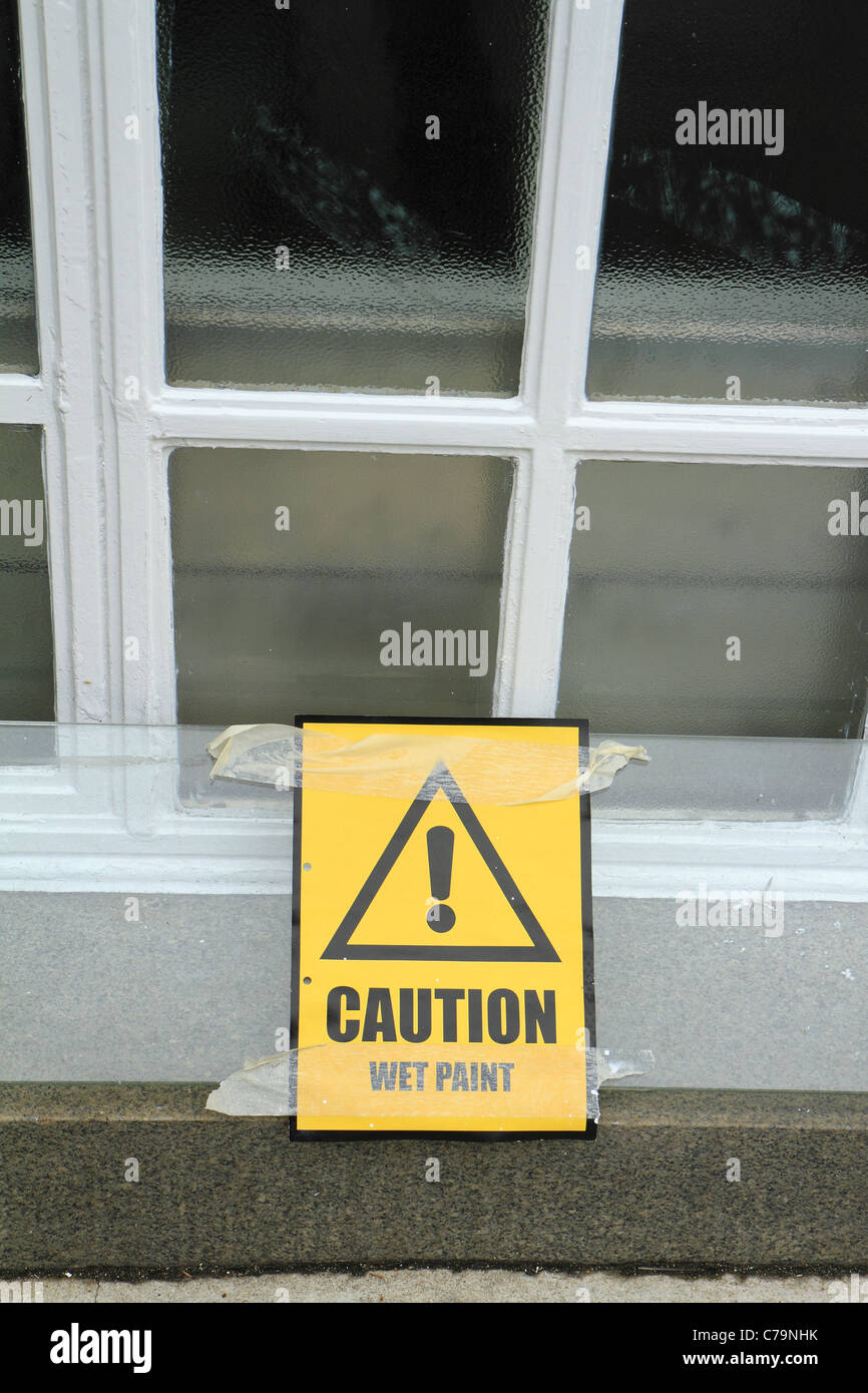 Caution, Wet Paint sign - Stock Image