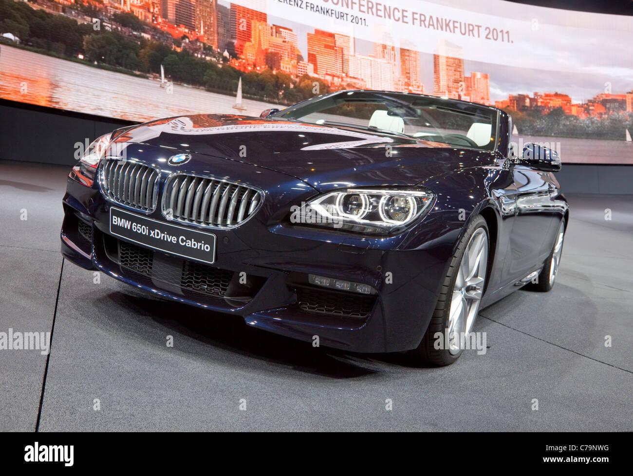 New BMW 650i xDrive Cabrio on the IAA 2011 International Motor Show in Frankfurt am Main, Germany - Stock Image