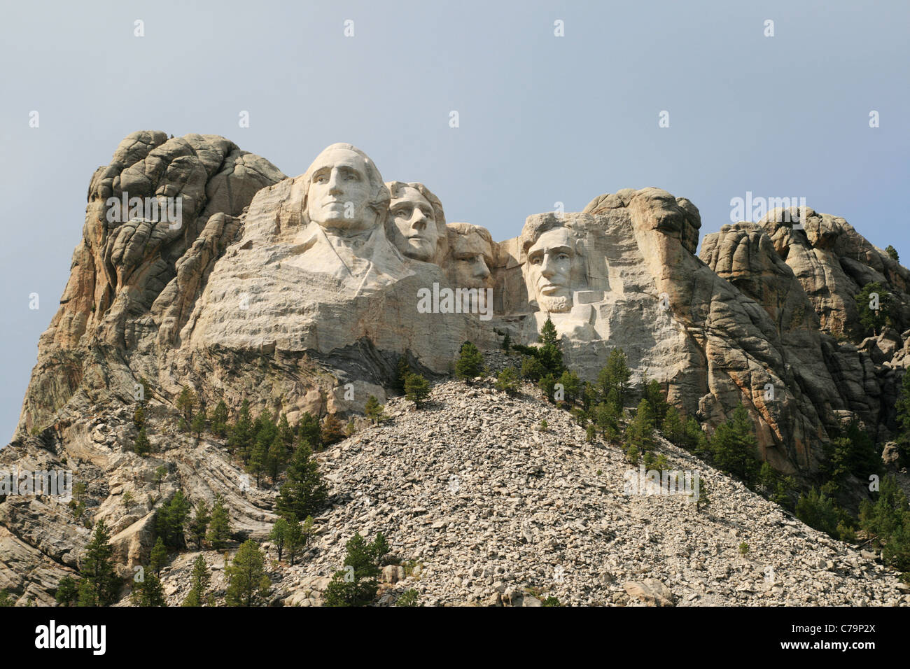 Mount Rushmore showing some of the surrounding mountain Stock Photo