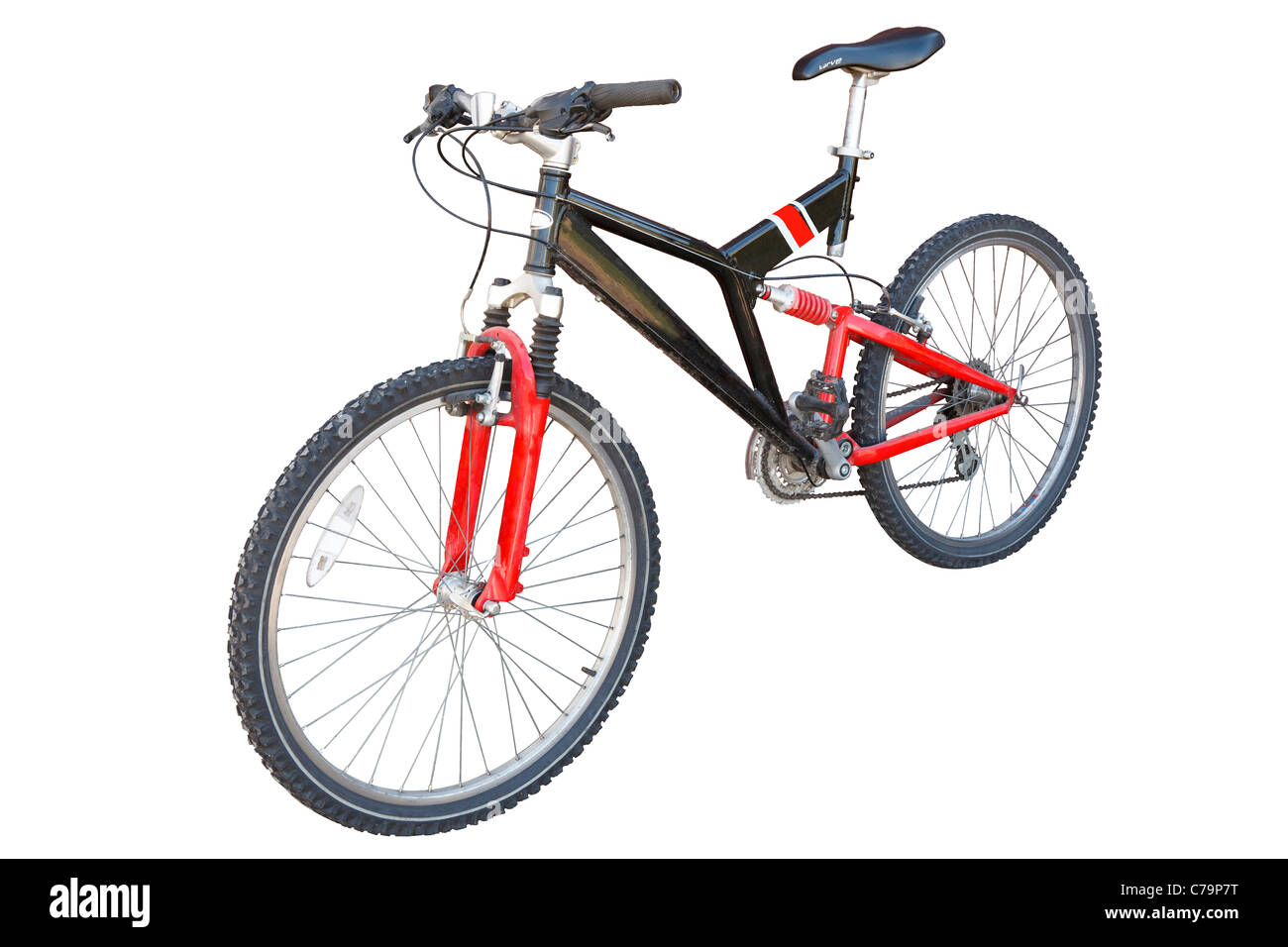 Red and Black Mountain/Off Road Bicycle Isolated on white with work path - Stock Image