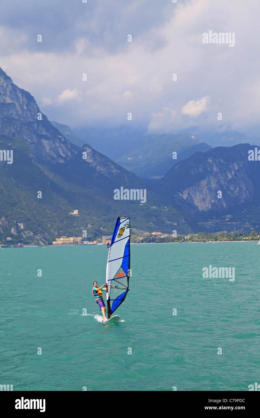 Wind Surfing on Lake Garda - Stock Image