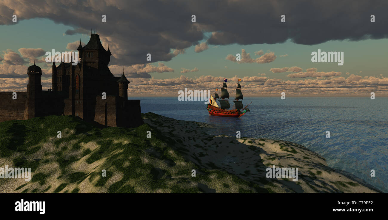A beautiful galleon sails by an imposing castle on the shore of a new country. - Stock Image