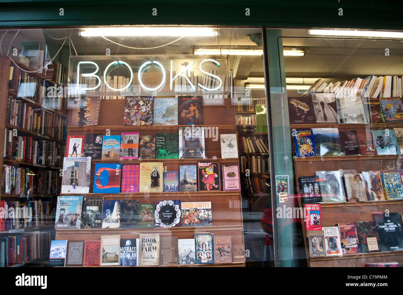 Secondhand bookshop window on Charing Cross Road, London, UK - Stock Image