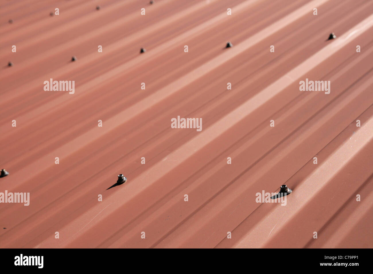 red sheet metal roof detail with selective focus - Stock Image