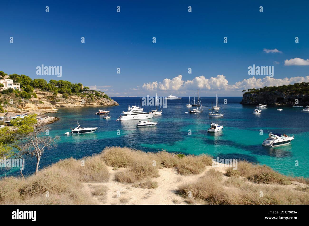 Boats in the Three Finger Bay, Cala Portals Vells, Cala Mago, Majorca, Balearic Islands, Spain, Europe Stock Photo