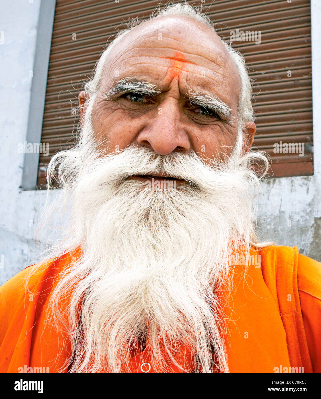 Indian Sadhu At the Holi Festival Mathura India - Stock Image