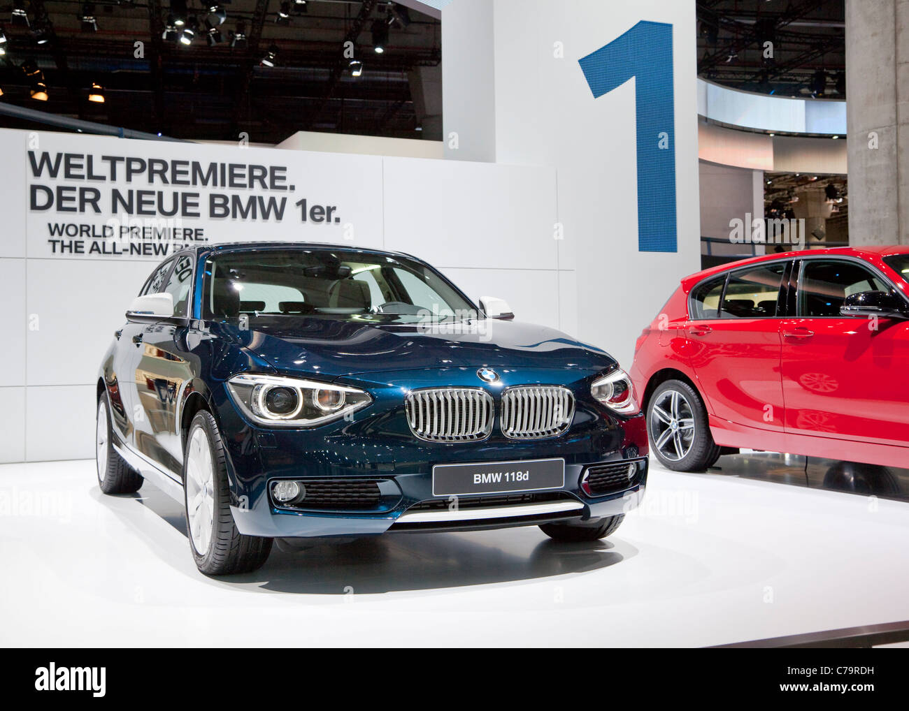 New BMW 118i on the IAA 2011 International Motor Show in Frankfurt am Main, Germany - Stock Image