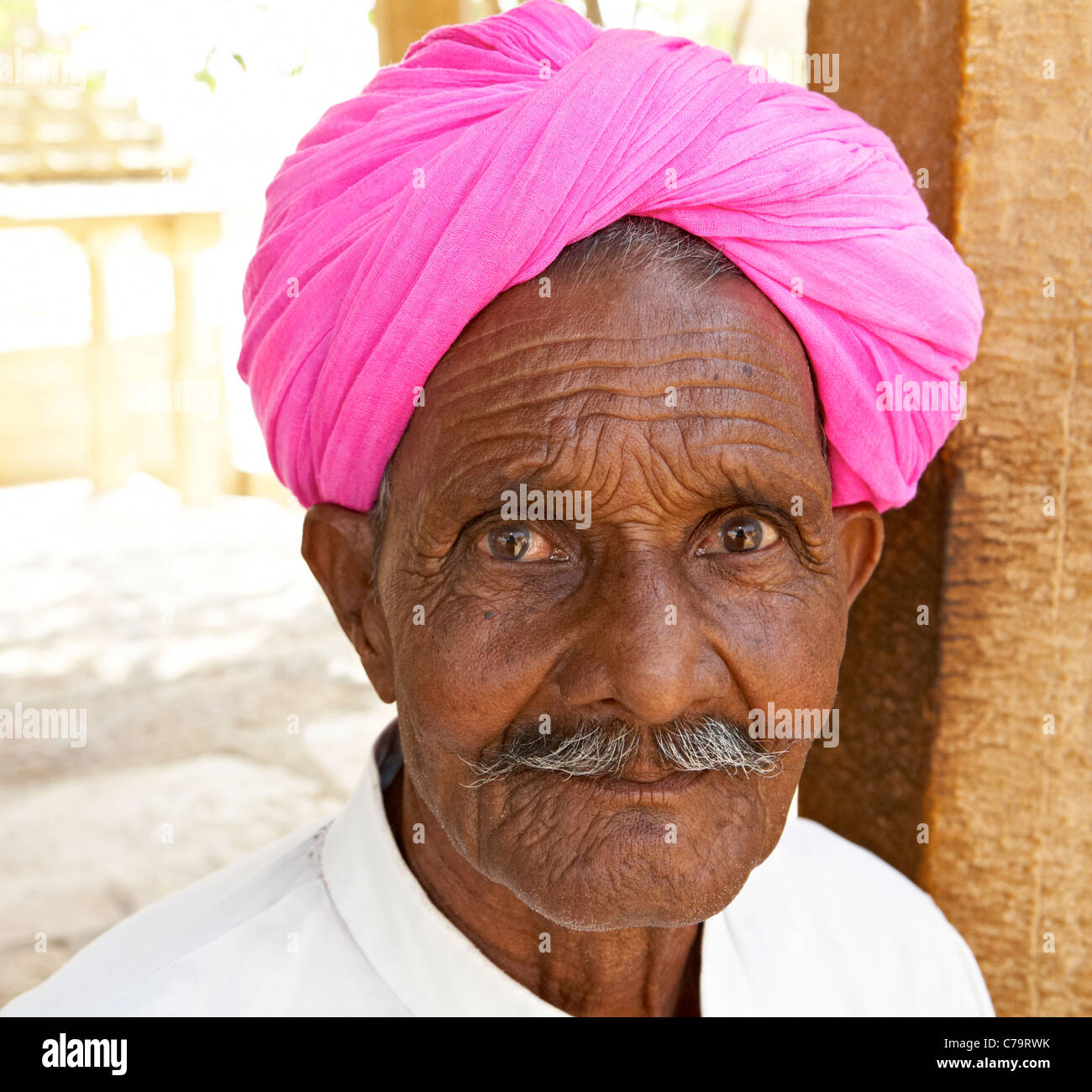 Indian Man In Pink Turban Pushkar Rajasthan India - Stock Image
