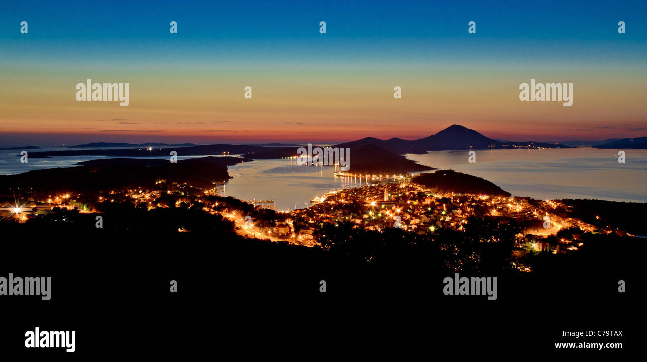 Mali Losinj, Croatia panoramic view from hill in blue hour - Stock Image